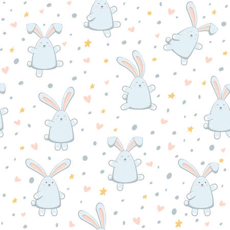 Easter rabbits with hearts and stars on white background. Seamless pattern with happy bunny. Illustration can be used for holiday wrapper, children's clothing or things design, background, wallpaper Çizim