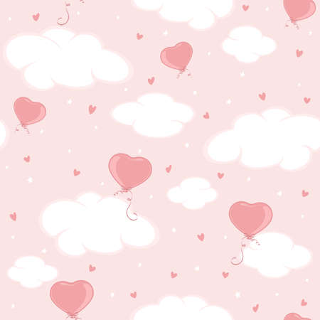 Holiday seamless background. Valentine balloons in the form of Heart in pink sky. Illustration can be used for wallpaper, children's clothing design, pattern fill, web page background, wrapping paper