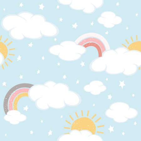 Seamless background with clouds and rainbows on blue sky. Magical repeat pattern. Illustration can be used for wallpaper, children's clothing design, pattern fill, web page background, wrapping paper