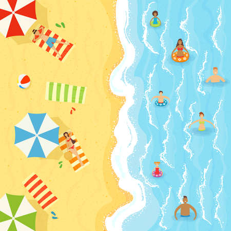 Set of men and women with children swim in water and sunbathing on the sand. Sea or ocean beach and waves on the water. Illustration with people in cartoon style can be used for summer poster, banner. Çizim