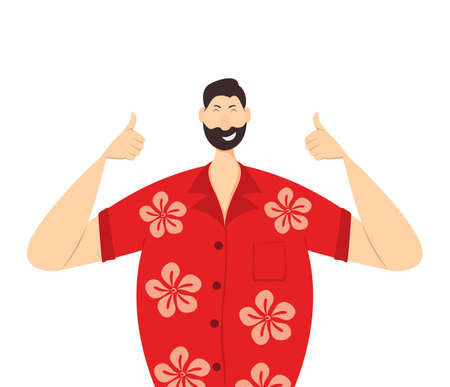 Happy man in a red Hawaiian shirt show Thumbs Up. Holidays in the Hawaiian Islands. The concept of enjoying a vacation. Illustration in a flat cartoon style with cute character.