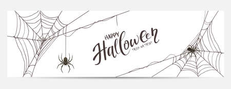 Halloween banner with black spiders and cobwebs isolated on white background. Scary illustration can be used for children's holiday design, cards, invitations and banners.