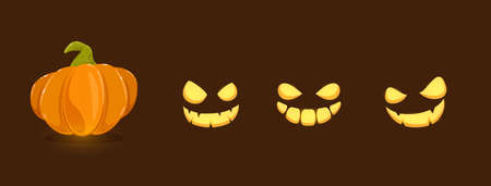Set of pumpkin smiles for Halloween on black background. Set of elements. Scary illustration can be used for holiday cards, children's clothing or things design, invitations and banners.
