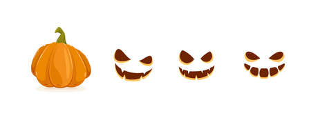 Set of pumpkin smiles isolated on white background. Set of Halloween elements. Scary illustration can be used for holiday cards, children's clothing or things design, invitations and banners.
