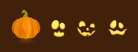 Set of Halloween elements. Set of pumpkin smiles on black background. Scary illustration can be used for holiday cards, children's clothing or things design, invitations and banners.