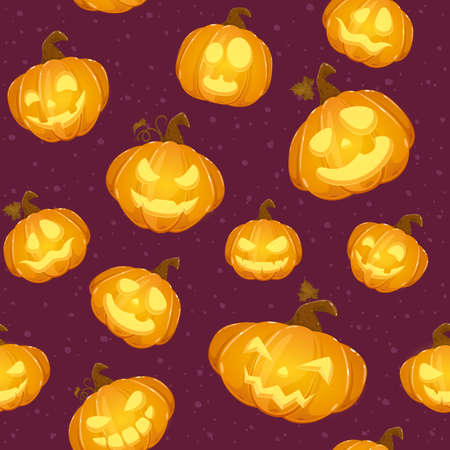 Purple seamless background with Halloween pumpkins. Pattern with Jack o lanterns. Illustration can be used for wallpaper, children's clothing design, pattern fill, web page background, wrapping paper