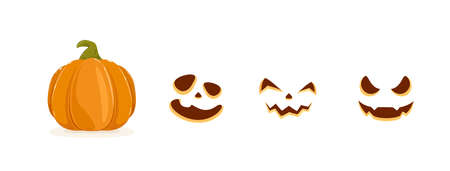 Set of pumpkin smiles for Halloween isolated on white background. Set of elements. Scary illustration can be used for holiday cards, children's clothing or things design, invitations and banners.