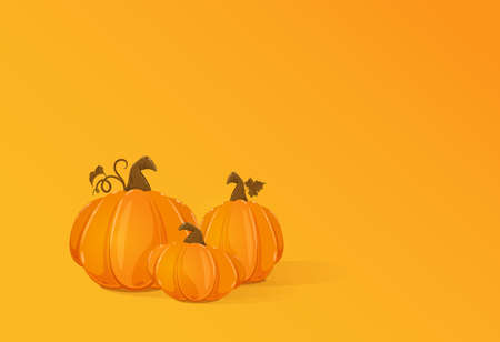 Set of three ripe pumpkins on orange background for Halloween or Thanksgiving Day. Card for holiday design. Illustration can be used for holiday background, cards, invitations, banner and other.