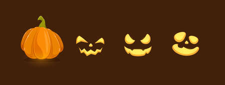 Set of pumpkin smiles on black background. Set of Halloween elements. Scary illustration can be used for holiday cards, children's clothing or things design, invitations and banners. Çizim