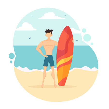 Happy surfer in blue swim shorts with a surfboard. Funny guy on the beach. Illustration in flat cartoon style can be used for summer design, posters, banners, for clothing design. Çizim