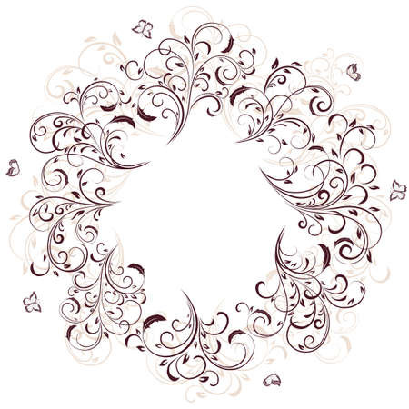 Abstract floral ornament with butterfly on white background. Ornate elements in the form of circle. Illustration can be used for wedding design, cards, invitations, banner