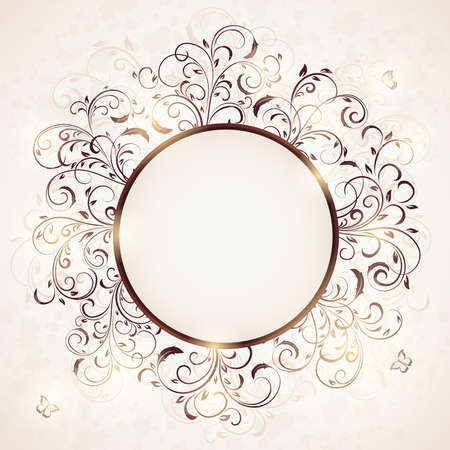 Abstract floral ornament with butterfly on beige background. Ornate elements in the form of circle. Illustration can be used for wedding design, cards, invitations, banner