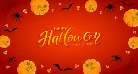 Pumpkins on red Halloween background with candies, bats and spiders. Card with Jack O 'Lanterns and lettering Happy Halloween. Illustration can be used for children's holiday design, banners, cards Ilustração