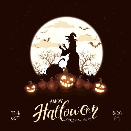Happy Halloween theme with witch and pumpkins on black night background. Holiday theme with Jack O 'Lanterns on Moon background. Illustration can be used for children's holiday design, cards, banners Ilustração