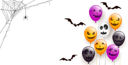 Spider on spiderweb and set of orange, white, black and purple balloons with scary smiles isolated on white background. Illustration can be used for children's holiday design, decoration, card, banner