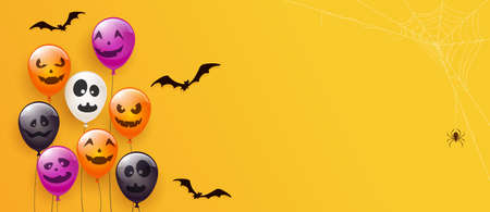 Spider on spiderweb and set of orange, white, black, purple balloons with scary smiles isolated on orange background. Illustration can be used for children's holiday design, decoration, card, banner