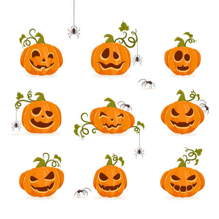 Set of smiling pumpkins with spiders isolated on white background. Cartoon elements for holiday design. Icons for Halloween decoration. Illustration can be used for holiday backgrounds, cards, banners