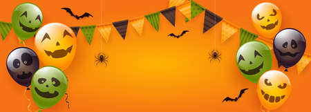 Card with orange, green and black balloons with scary smiles, pennants, spiders and bats on orange background. Illustration can be used for children's holiday design, decoration, card, banner
