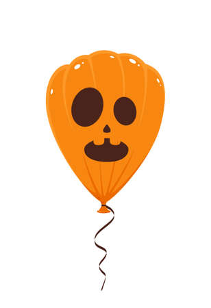 Orange balloon with scary smile isolated on white background. Decoration for Halloween. Illustration can be used for children's holiday design, decorations, cards, banners. Ilustração