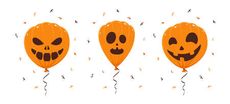Set of orange balloons with scary smiles isolated on white background. Illustration can be used for children's holiday design, decorations, cards, banners. Ilustração