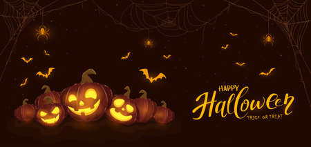 Banner with Halloween pumpkins, spiders and bats on dark background. Holiday card with Jack O 'Lanterns. Illustration can be used for clothing design, holiday design, cards, invitations, banners Illusztráció