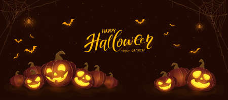 Banner with Halloween pumpkins, spiders and bats on black night background. Holiday card with Jack O 'Lanterns. Illustration can be used for clothing design, children's holiday design, cards, banners