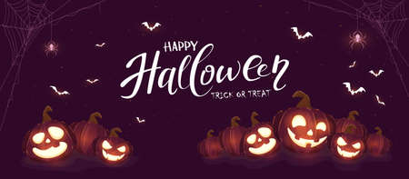 Banner with Halloween pumpkins, spiders and bats on purple background. Holiday card with Jack O 'Lanterns. Illustration can be used for clothing design, children's holiday design, cards, banners Illusztráció