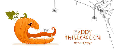 Halloween banner. Spider on the tongue of a scary pumpkin. Jack O 'Lantern and spiders isolated on white background. Illustration can be used for children's holiday design, cards, banners, invitations