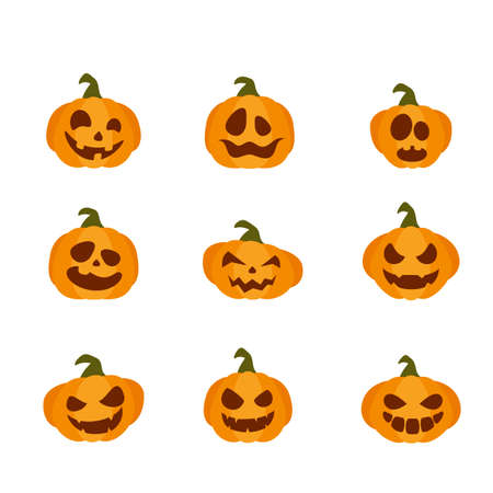 Smiling pumpkins isolated on white background. Set of flat Icons. Cartoon elements for holiday design. Icons for Halloween decoration. Illustration can be used for holiday backgrounds, cards, banners Ilustração
