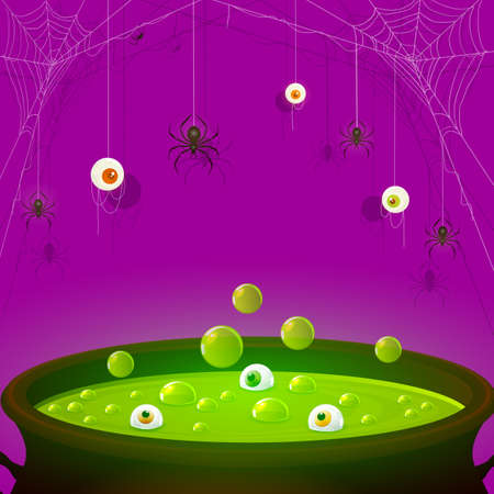 Halloween Purple background. Scary eyes and spiders on web. Green potion in cauldron with eyes and bubbles. Illustration can be used for cards, children's holiday design, invitations and banners