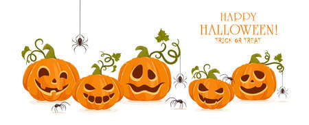 Holiday banner with set of smiling pumpkins with spiders isolated on white background. Cartoon elements for holiday design. Halloween decoration. Illustration can be used for holiday backgrounds, cards, banners
