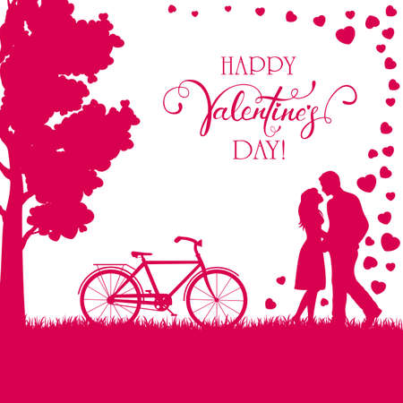 Pink background with happy couple, tree and bicycle. Lettering Happy Valentine's Day. Valentines illustration with man and woman can be used for holiday design, posters, cards, websites, banners. Иллюстрация
