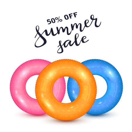 Set of float rings isolated on white background. Swim rings. Summer sale, water and beach theme. Colorful rubber toy. realistic lifebuoy. Illustration can be used for summer design, poster, banner