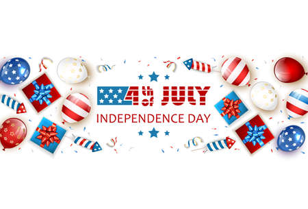 Independence day background. Text 4th of July with balloons, gift boxes and rocket fireworks. White Independence day Theme. Illustration can be used for holiday design, banners, cards, posters.