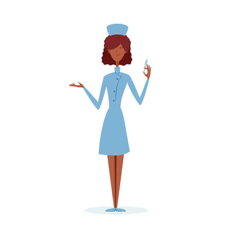Woman doctor or nurse. pandemic concept. A female medical healthcare professional. Сute nurse with syringe is vaccinating. Illustration can be used for medical design, banners, other.