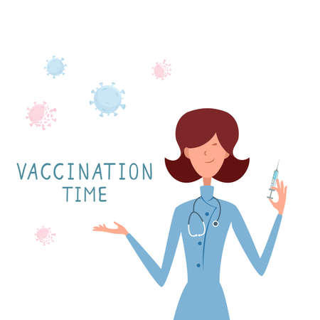 Vaccination time concept. Woman doctor and pandemic. Cute nurse with syringe is vaccinating. A female medical healthcare professional. Illustration for medical theme, design, banners.