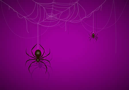 Big black spider on purple Halloween background. Banner with scary black spiders on cobwebs. Illustration can be used for holiday cards, backdrops, children's design, invitations and banners.