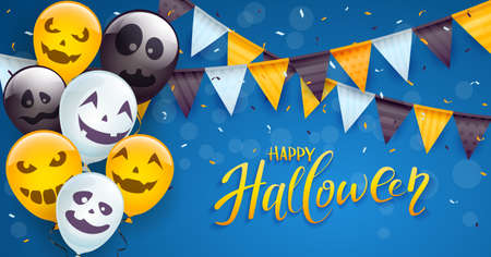 Set of orange, white and black balloons with scary smiles, colored pennants and streamers on blue background. Illustration can be used for children's holiday design, decoration, card, banner