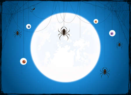 Full Moon on blue sky background. Banner with scary eyes and black spiders on cobwebs. Illustration can be used for holiday cards, backdrops, children's design, invitations and banners.