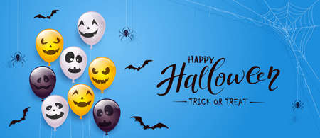 Spider on spiderweb, bats and set of orange, white, black balloons with scary smiles isolated on blue background. Illustration can be used for children's holiday design, decoration, card, banner