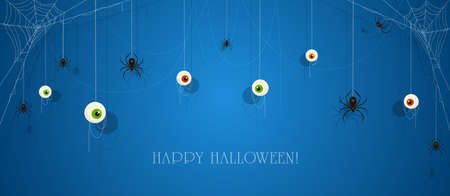 Text Happy Halloween on blue banner with scary eyes and black spiders on cobwebs. Illustration can be used for holiday cards, backdrops, children's clothing design, invitations and banners.
