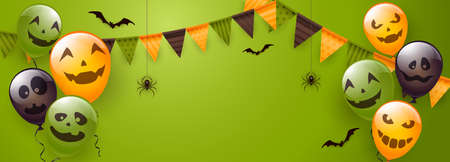 Banner with orange, green and black balloons with scary smiles, pennants, spiders and bats on green background. Illustration can be used for children's holiday design, decoration, card, banner 矢量图像