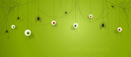 Text Happy Halloween on green banner with scary eyes and black spiders on cobwebs. Illustration can be used for holiday cards, backdrops, children's clothing design, invitations and banners.