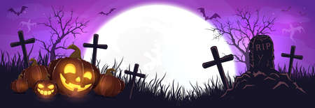 Halloween pumpkins on cemetery. Purple night background. Banner with Jack O 'Lanterns, ghosts, bats and spiders. Illustration can be used for children's holiday design, cards, invitations and banners. 矢量图像