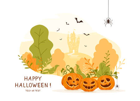 Halloween design. Pumpkins on orange background with castle. Holiday card with Jack O Lanterns, bats and spiders. Illustration in cartoon style can be used for holiday cards, banners