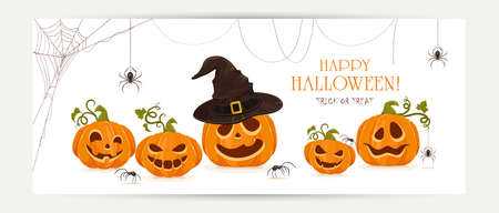 Halloween banner with set of smiling pumpkins with spiders isolated on white background. Cartoon elements for holiday design. Illustration can be used for holiday backgrounds, cards, banners