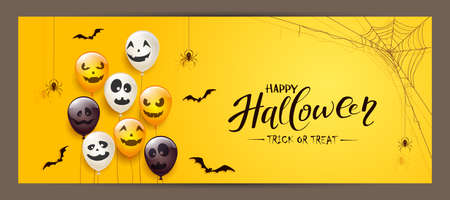 Spider on spiderweb, bats and set of orange, white, black balloons with scary smiles isolated on yellow background. Illustration can be used for children's holiday design, decoration, card, banner