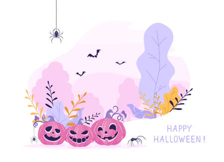 Smiling pumpkins on pink Halloween background. Banner with Jack O 'Lanterns, bats and spiders. Illustration in pastel colors can be used for children's holiday design, cards, invitations and banners