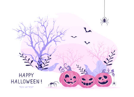 Smiling pumpkins on pink Halloween background. Card with Jack O 'Lanterns, scary trees, bats and spiders. Illustration can be used for children's holiday design, cards, invitations and banners