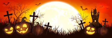 Halloween pumpkins on cemetery. Orange night background. Banner with Jack O 'Lanterns, castle, bats and spiders. Illustration can be used for children's holiday design, cards, invitations and banners. 矢量图像